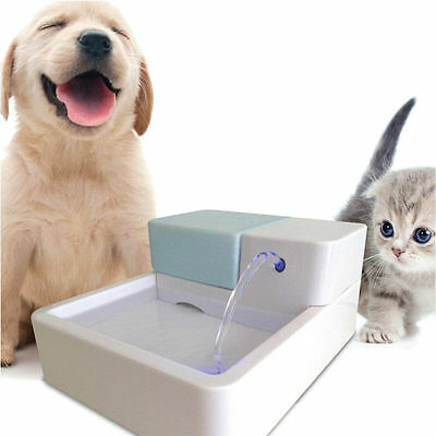 LED/UV Automatic Pet Water Drinking Filter Fountain Bowl Dog Cat Kitten Drinking
