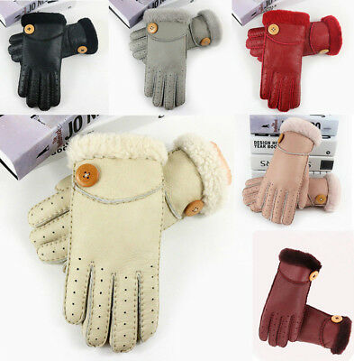 Lady Women Premium Quality Genuine Soft Leather Gloves 100% Sheepskin Fur Lined