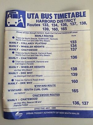 1986 Sydney Buses Harbord Manly Wharf District Timetable 133-139, 160, 165