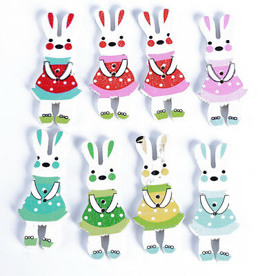 Creative Rabbit Shaped Wood Button 2 Holes Mixed Color Sewing Craft Decoration S