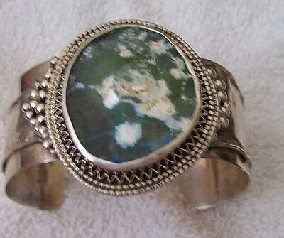 Wide Sterling Bracelet With 2000 Yr Old  Antique Roman Glass