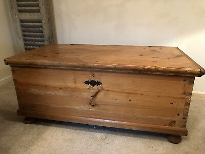 Large Antique Pine Blanket Box or Coffee Table