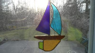 """Vintage stained slag glass hand made Nautical sail boat suncatcher 8"""""""