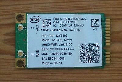 "Intel WiFi Card 512AN_MMW Mini PCIe Wireless WLAN ""Intel WiFi Link 5100"" MIMO"