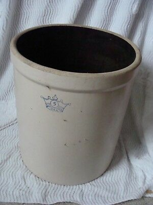 Vintage 5 Gallon Robinson Ransbottom USA Blue Crown Stoneware Crock home decor