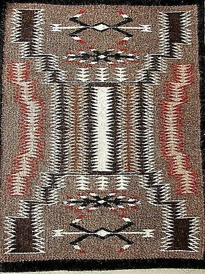 NATIVE AMERICAN Natural Woven Rug-Beautiful STORM PATTERN by ANNA GRAYHAT