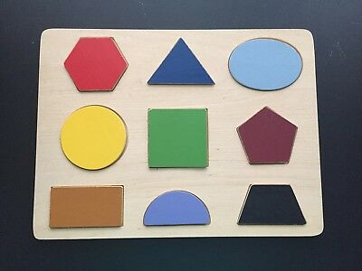 New! Wooden SHAPES PUZZLE Children Learning Educational Colors Wood Toy