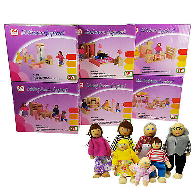 Dollhouse Furniture Set 7 Dolls Wooden Doll House Toy 6 Room Pretend Play