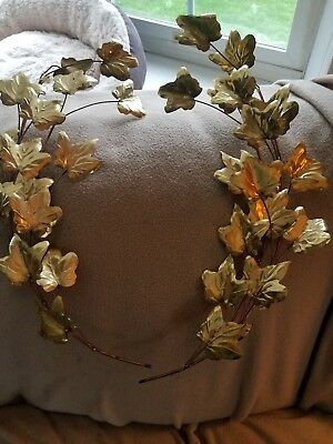 PAIR OF GOLD LEAVES METAL WALL SWAG PLAQUES USA Homco Home Interior