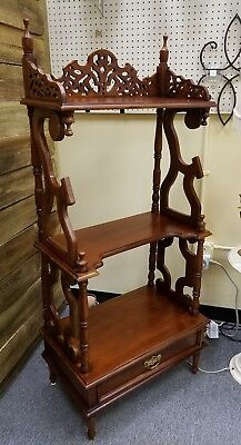 Victorian Etagere What Not Shelf Curio with drawer