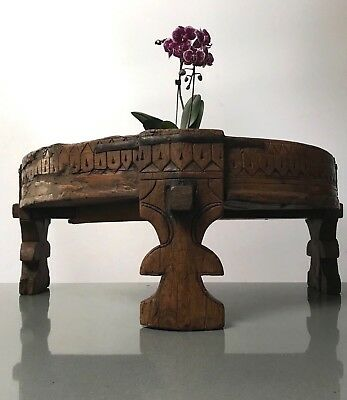 Antique/vintage Indian Furniture. Half A Spice Grinding Chakki Table. Rajasthan.