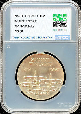 Finland 1967Sh 10 Markkaa Independence Anniversary Tcc Ms60 Unc Silver Coin
