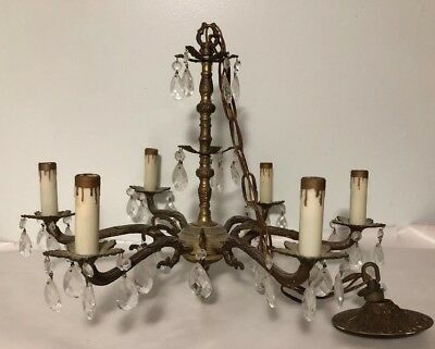 Vintage Brass Chandelier Crystals 6 Arm French Hollywood Style