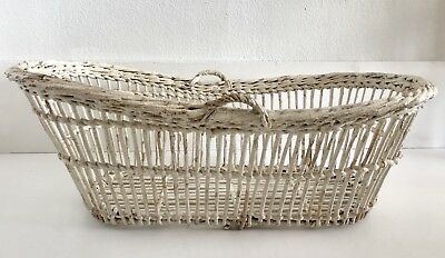 Antique Baby Basket Bassinet Hand Woven Moses Wicker Wood Vintage White Rustic