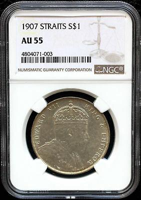 Straits Settlements 1907 One Dollar Ngc Au55 Silver Coin About Unc