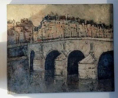 Painting oil on canvas view of the bridge Marie Paris signed Oscar Schmal dated