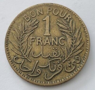 Tunisia 1 Franc 1921 Coin - Chambers of Commerce Coinage