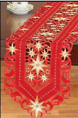 Red Star Christmas Table runner Doily Tablecloth with Openwork Embroidery Winter