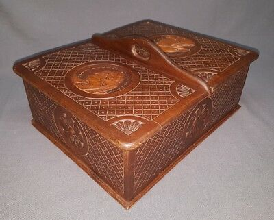 Vintage French Breton Carved Wood Sewing Box Quimper L 13""