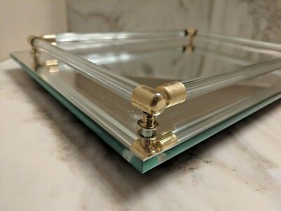 Vintage Mid Century Mirrored Make up Vanity Tray Glass Rods Beveled Edge mirror