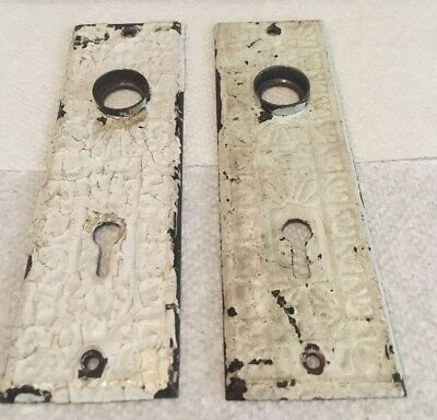 A Pair of Vintage Antique Primitive Shabby Key Hole Door Knob Lock Plate Parts