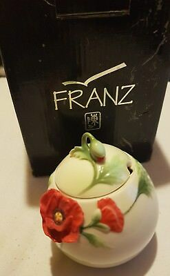 Franz Porcelain Poppy Sugar Bowl In Original Box Vgc Fz00526 V. Rare