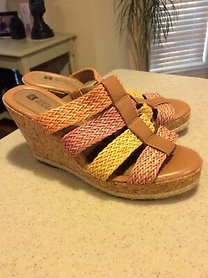 11302a3933c Womens White Mountain Tan With Muliticolor Cork Wedge Size 7.5