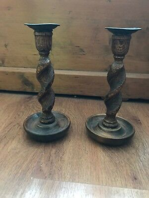 Vintage 8 Inch WOODEN BARLEY TWIST CANDLE STICK HOLDERS PAIR OF.