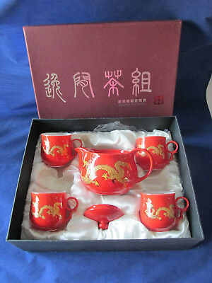 6 Piece Shunlong Art Porcelain Tea Set Red / Orange With Gold Dragon New In Box