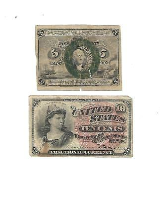 Set of  2  U.S. Fractional notes  5 Cents & 10 Cents 1860s  Fine+