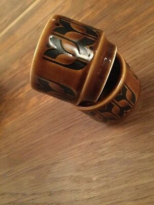 Vintage 1970's HORNSEA POTTERY BROWN HEIRLOOM EGG CUPS X 2