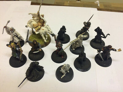 Games Workshop Lord of the Rings metal hero figures incAragorn, Gandalf, Boromir