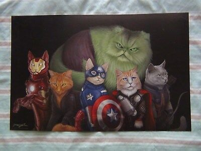 """2014 Avengers as Cats  Glossy Print 11"""" X 17""""  Signed by Artist Jenny Parks"""