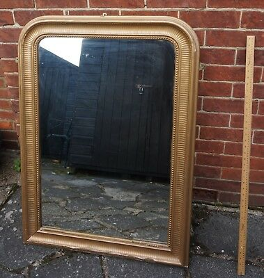 Vintage Large French Mirror Gold Wooden Frame Shabby Chic Victorian Edwardian