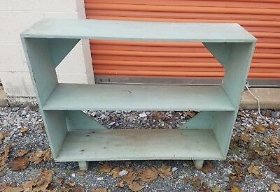 Vintage Antique Wood Primitive Blue Shelf Farm Decor Rustic Country 2 Tier Old