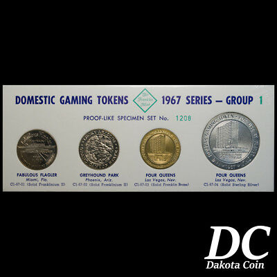 Franklin Mint Domestic Gaming Tokens 1967 Group 1 ~Nevada Casinos~ Sterling