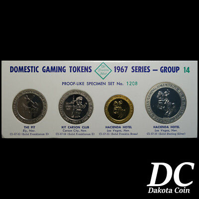 Franklin Mint Domestic Gaming Tokens 1967 Group 14 ~Nevada Casinos~ Sterling