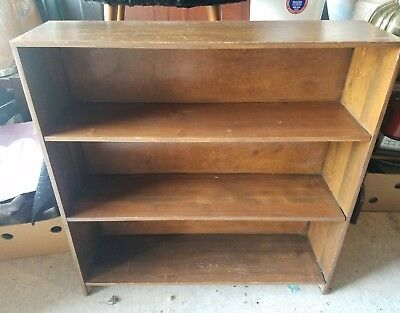 Vintage Wood Pine Wooden Shelving Book Toy Trinket Shelf 3 Tier Brown Bookshelf