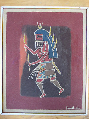 Vintage Navajo American Indian Sand Mixed Media Painting Signed Fred Framed Old