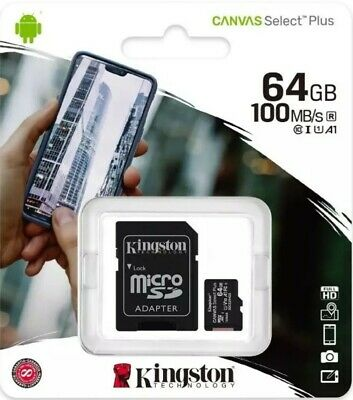 Tarjeta de memoria KINGSTON 64 GB Clase 10 Micro SDHC + adaptador