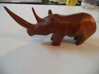 "Vtg Hand Carved Exotic Wood 10"" RHINOCEROS Sculpture African Wooden RHINO FIGURE"