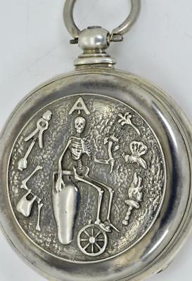 Rare antique Victorian Memento Mori Skull Skeleton pocket watch.Arnold Adams&Co