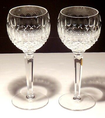 2 Waterford Crystal Colleen Wine Hock Glasses ~ 7 3/8  Made In Ireland