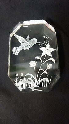 Vtg Heavy Clear Art Lucite Carved Hummingbird flower Paperweight