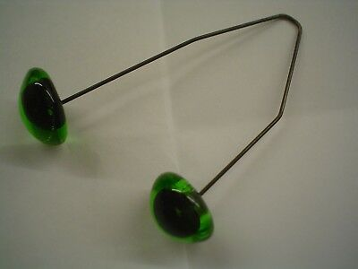 One Pair Green Glass Teddy / Animal Eyes On Wires