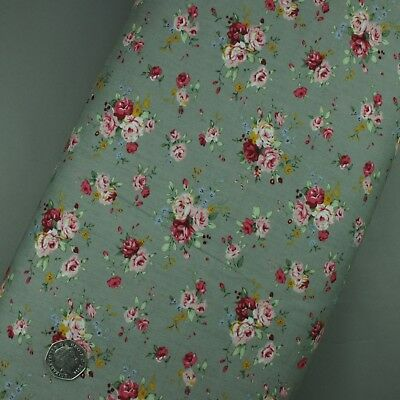 100% Cotton Fabric Floral Scattered Rose on Grey - Sold per half metre