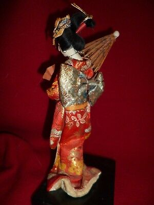 """SMALL DELICATE GOFUN JAPANESE GEISHA DOLL with FAN & PARASOL JUST 6-1/2"""" TALL"""