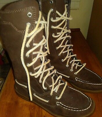 Brown Suede leather lace up womens boots sz 6.5