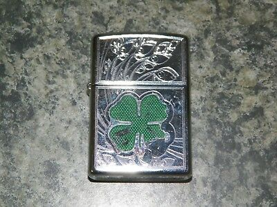 Used Zippo Clover High Polish Chrome Lighter 24699
