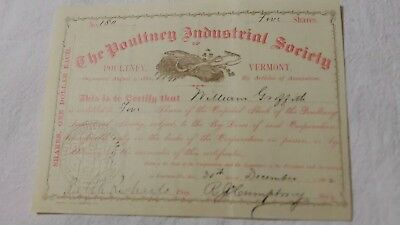 Certificate for 5 Shares Poultney (VT) Industrial Society 30 Dec 1882